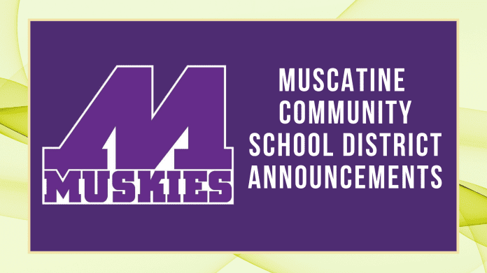 Muscatine Community School District (MCSD) Announcements with Muskie Logo