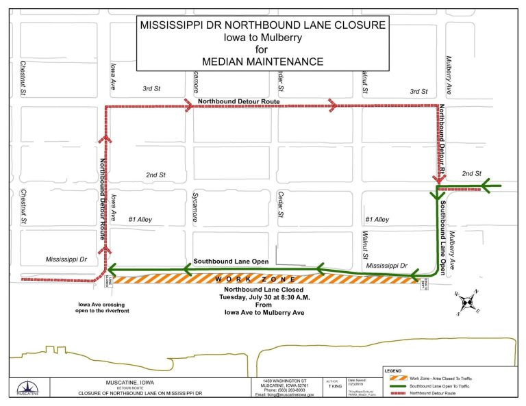 Mississippi Drive lane reduction scheduled for July 30