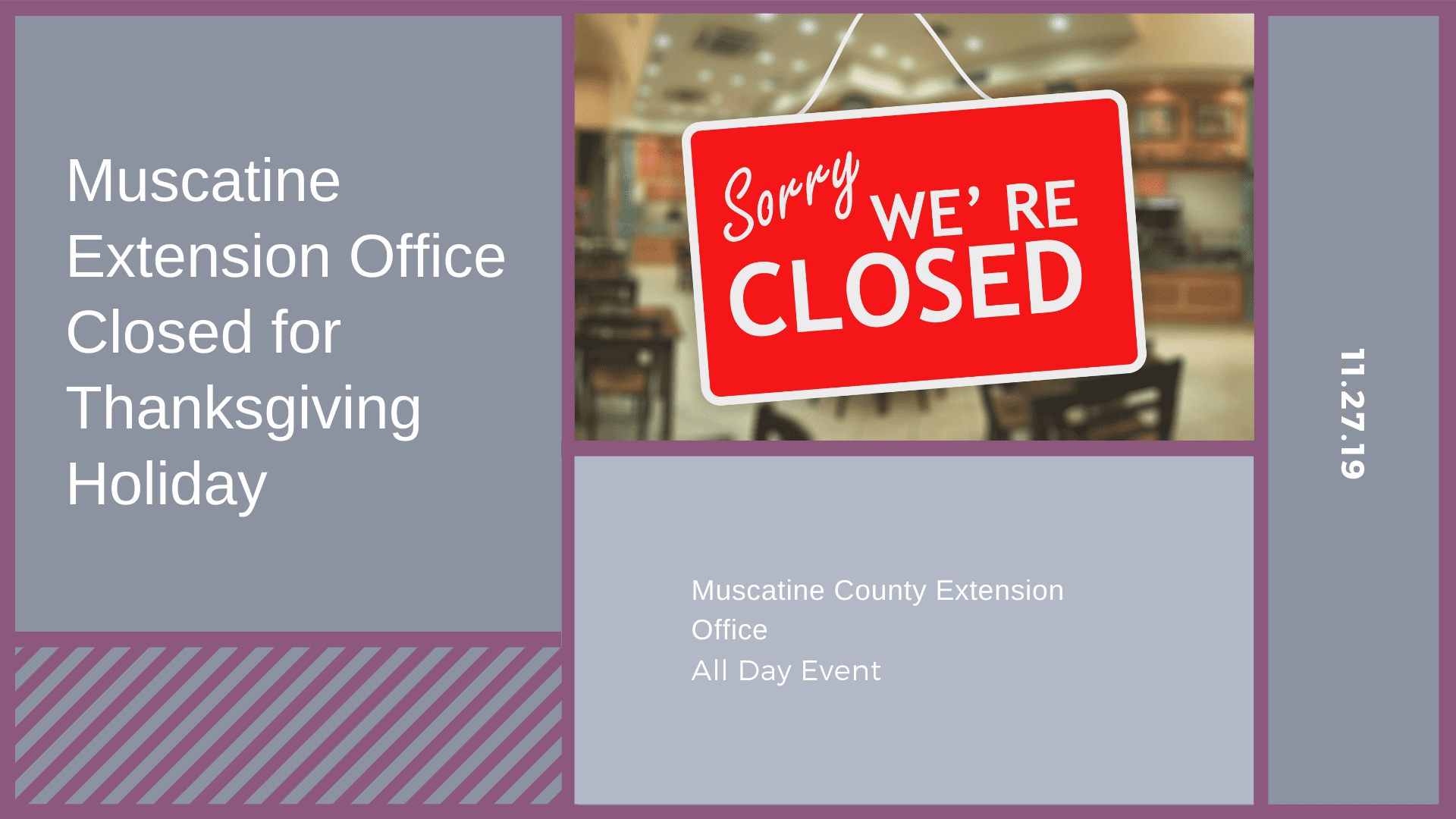 Muscatine Extension Office Closed for Thanksgiving Holiday