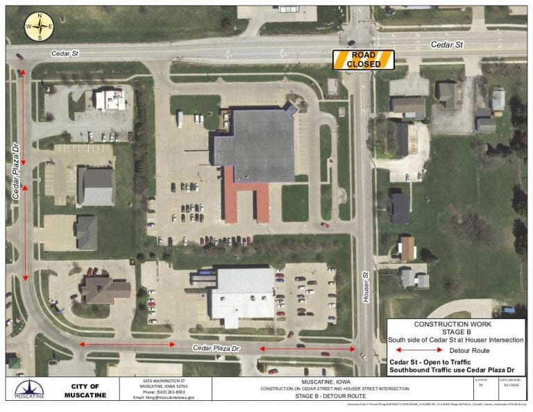 Detour, closures to change for Houser-Cedar intersection work