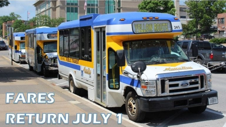 MuscaBus to start collecting fares again on July 1