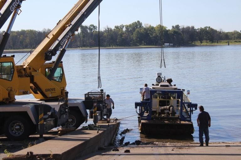 Dredge launched, ready to begin operations in harbor