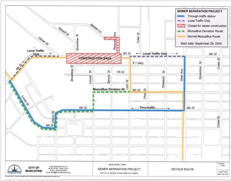Detour for MuscaBus Yellow Route is now in effect