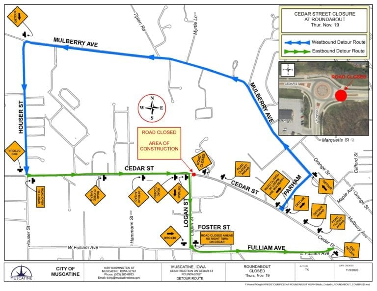 Cedar-Logan roundabout to be partially closed starting November 19
