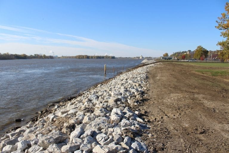 Levee rip rap replacement begins from Riverside Park