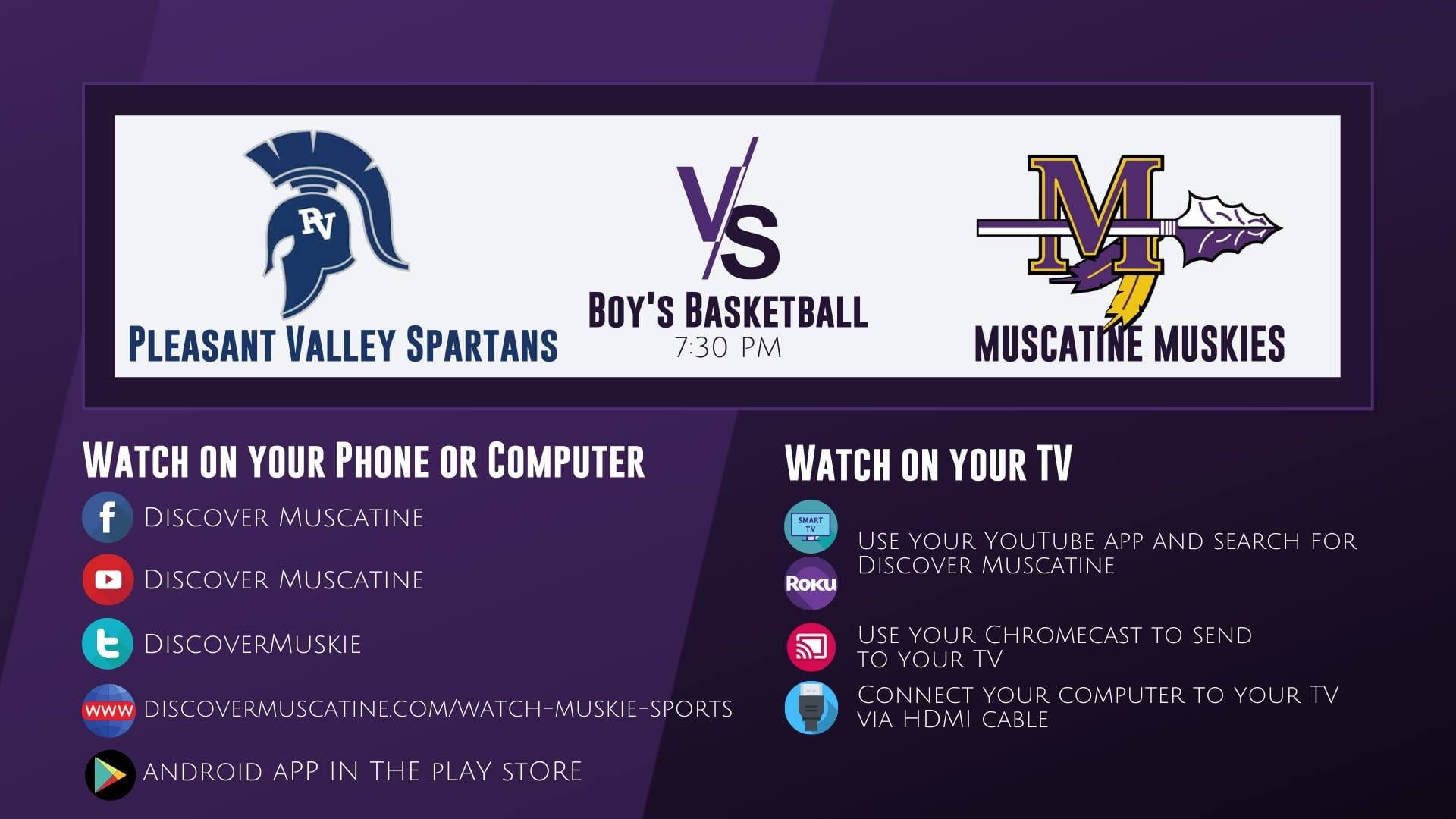 Muskie Boys Basketball vs Pleasant Valley LIVE Broadcast