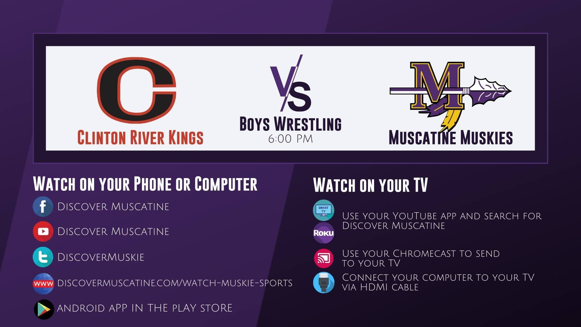 Muskie Boys Wrestling vs Clinton LIVE Broadcast