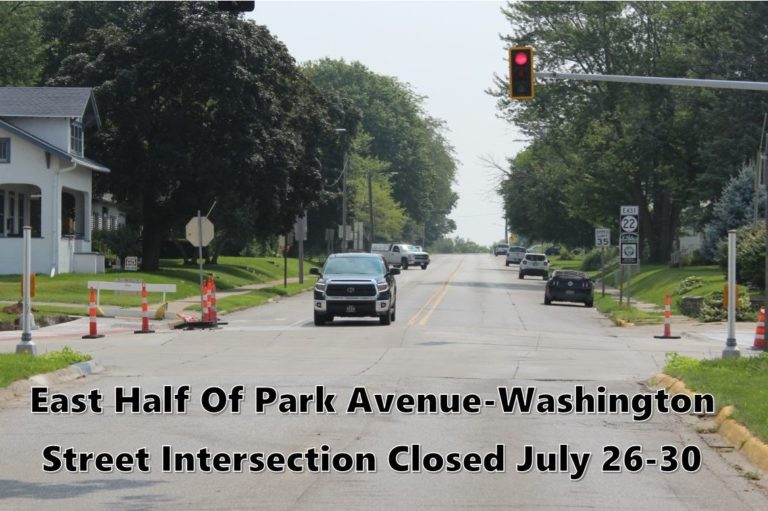 East half of Park-Washington intersection to be closed one week